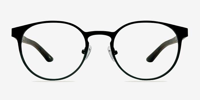 Black Steel/Wood Outline -  Designer Wood Texture Eyeglasses