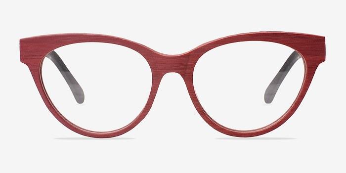 Matte Red Jane Birkin -  Fashion Wood Texture Eyeglasses