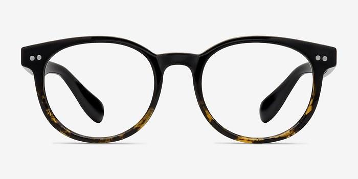 Brown Floral Achiever -  Colorful Plastic Eyeglasses