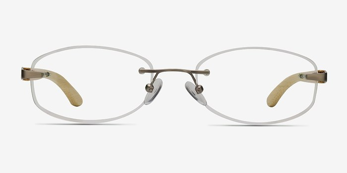 Silver Yellow Duel -  Lightweight Wood Texture Eyeglasses