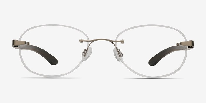 Silver Brown Fragment -  Lightweight Wood Texture Eyeglasses