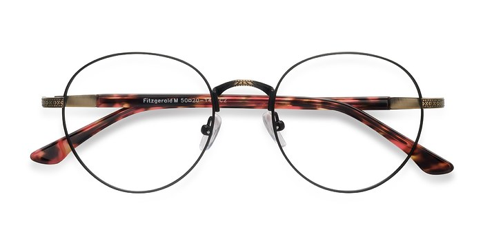 Matte Black and Tortoise Fitzgerald -  Vintage Metal Eyeglasses