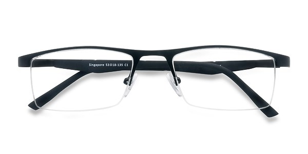 Rimless Glasses Singapore : Singapore Black Metal Eyeglasses EyeBuyDirect