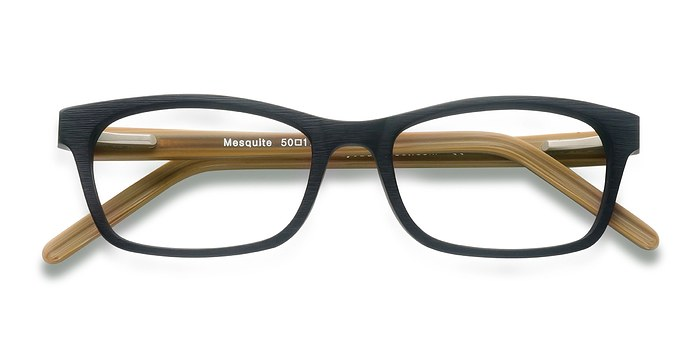 Black/Yellow Mesquite -  Classic Wood Texture Eyeglasses