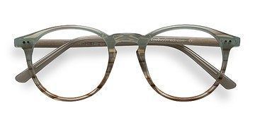 Green Striped  Kyoto -  Acetate Eyeglasses