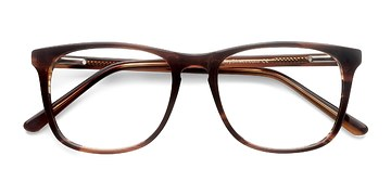 Brown Striped Skyline -  Fashion Acetate Eyeglasses