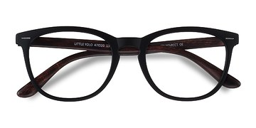 Black Brown Little Yolo -  Geek Plastic Eyeglasses