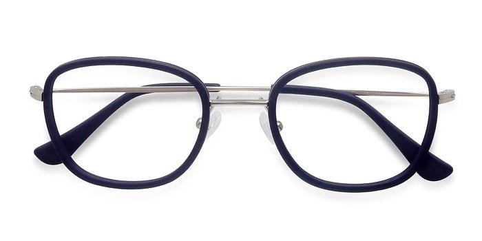 Matte Navy Trapeze -  Designer Acetate Eyeglasses