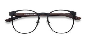 Charcoal and Walnut Resonance -  Wood Texture Eyeglasses