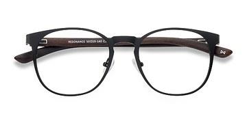 Charcoal and Walnut Resonance -  Wood Texture Eyeglasses