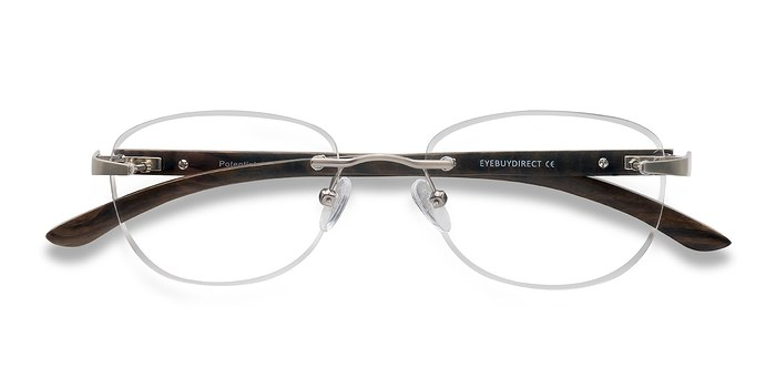 Silver Brown Potential -  Lightweight Wood Texture Eyeglasses