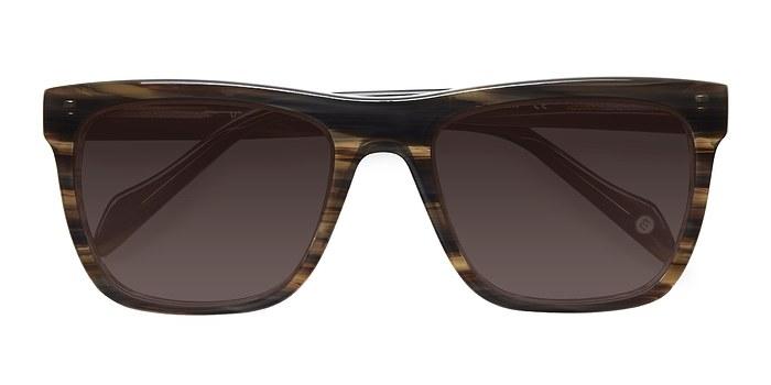 Brown Strip Virtual -  Acetate Sunglasses