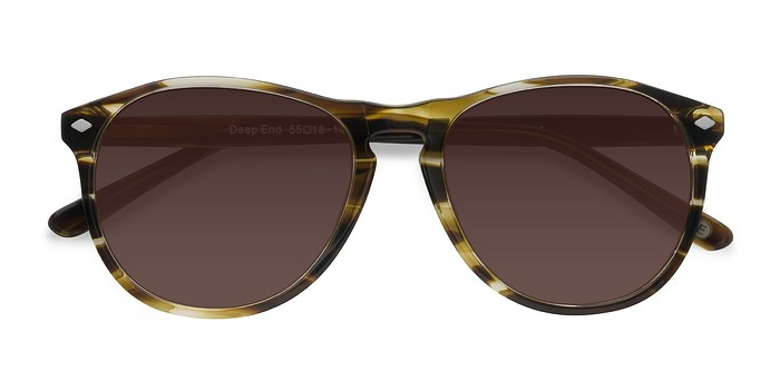 Brown Striped  Deep End -  Vintage Acetate Sunglasses