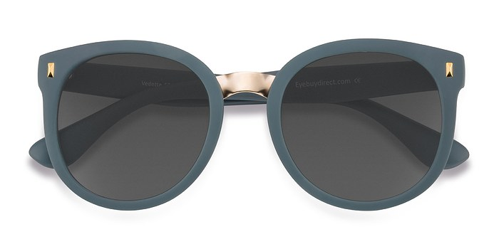 Matte Green Vedette -  Metal Sunglasses