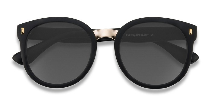 Matte Black Vedette -  Metal Sunglasses