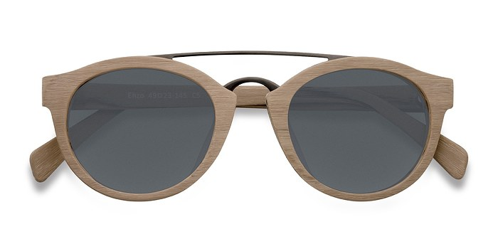 Light Brown Enzo -  Wood Texture Sunglasses