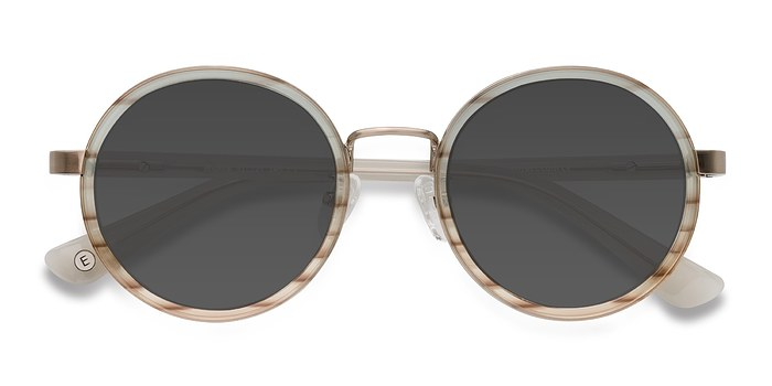 Brown Striped Bounce -  Acetate Sunglasses