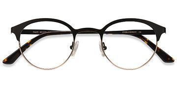 Black Golden Fixate -  Metal Eyeglasses