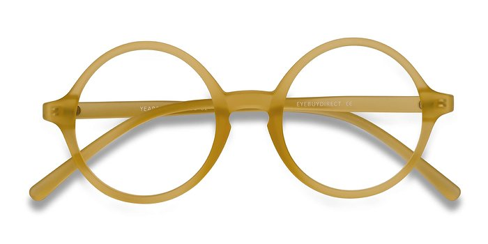 Frosted Yellow Years -  Vintage Plastic Eyeglasses